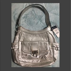 NWT Chaps Silver Pamela Over the Shoulder Purse